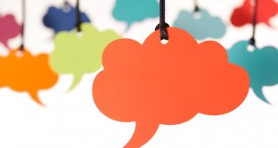 Blank cloud shaped speech bubbles